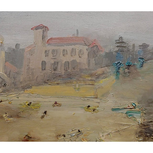 1960s R. S. Karlin - Santa Monica Beach - 1960s Mid Century Oil Painting Mid Century For Sale - Image 5 of 11