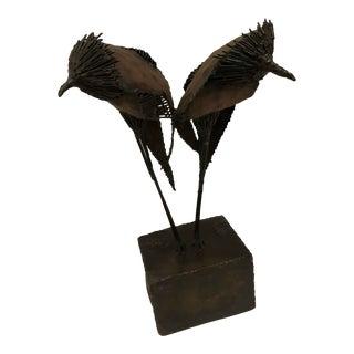 Mid-Century Brutalist Sculpture of Twin Birds. America, C. 1960s For Sale