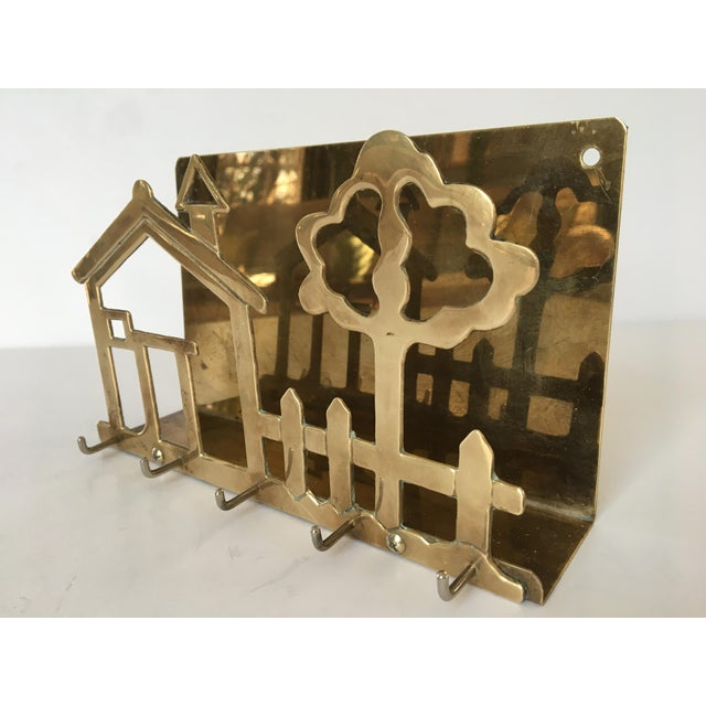 Brass Mid-Century Brass House & Fence Letter Holder and Key Rack For Sale - Image 8 of 9