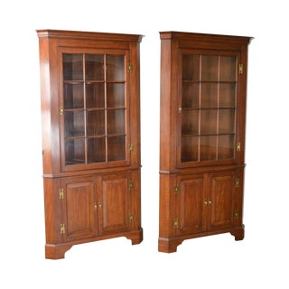 Henkel Harris Solid Cherry Chippendale Style Corner Cabinets - a Pair