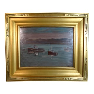 """1940s """"Three Boats at Dusk"""" Nautical Seascape Oil Painting by Anders Aldrin, Framed For Sale"""