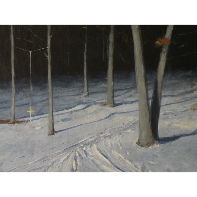 Snowy Back Yard in Winter Original Painting - Image 3 of 7