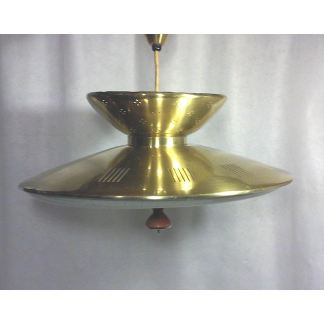 Mid-Century Modern Gerald Thurston Retractable Brass Chandelier For Sale - Image 3 of 5
