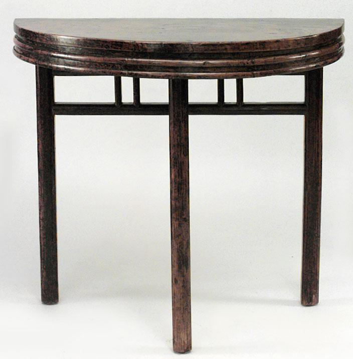 Asian Chinese Style Teak Half Round 3 Legged Console Tables  A Pair For  Sale