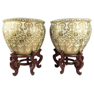 Gold Leaf Hand Painted Cachepots - A Pair For Sale