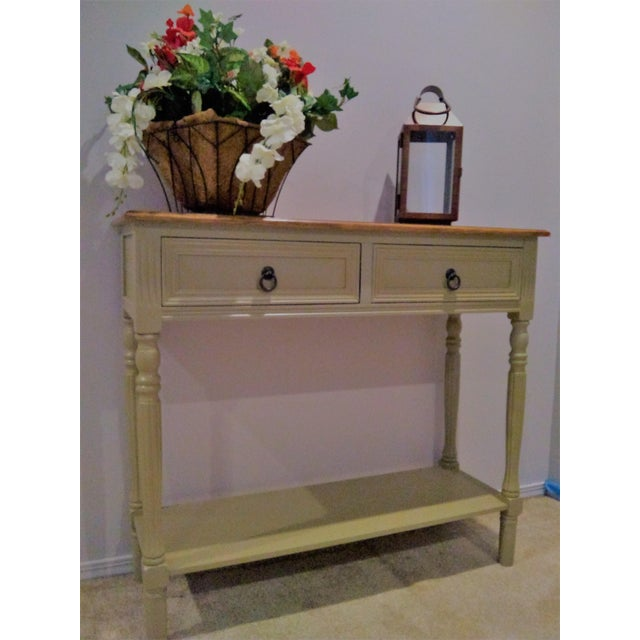Contemporary Walnut Farmhouse Console Table For Sale - Image 3 of 5