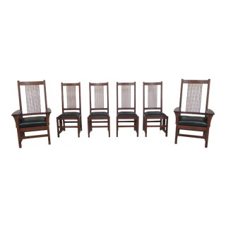 Stickley Spindle Back Mission Oak Dining Room Chairs- Set of 6 For Sale