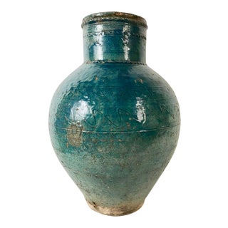 Persian Turquoise Glazed Storage Jar, Large Scale For Sale