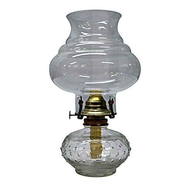 Vintage Clear Glass Oil Lamp For Sale