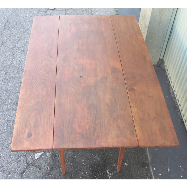 Early 19th Century 19th Century Original Salmon Painted Farm Table For Sale - Image 5 of 7