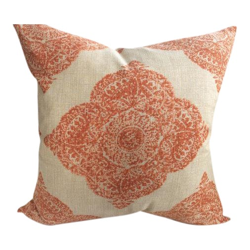 "John Robshaw ""Mani"" in Terracotta Woodblock Medallion Pillows - a Pair - Image 5 of 5"