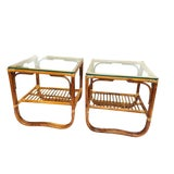 Image of Vintage Boho Chic Sculpted Bent Bamboo 2 Tier End Tables - a Pair For Sale