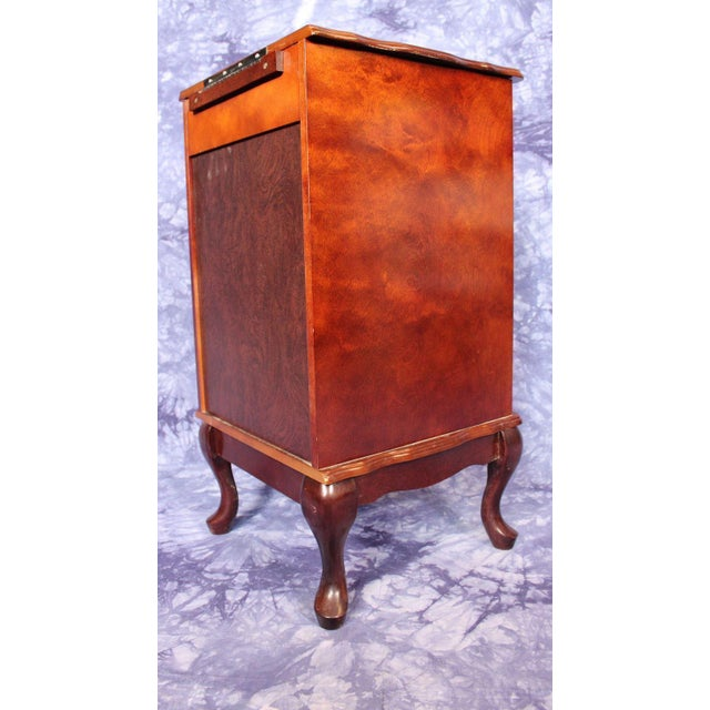 Brown Queen Anne Style Filing Cabinet Nightstand Chest of Drawers For Sale - Image 8 of 10
