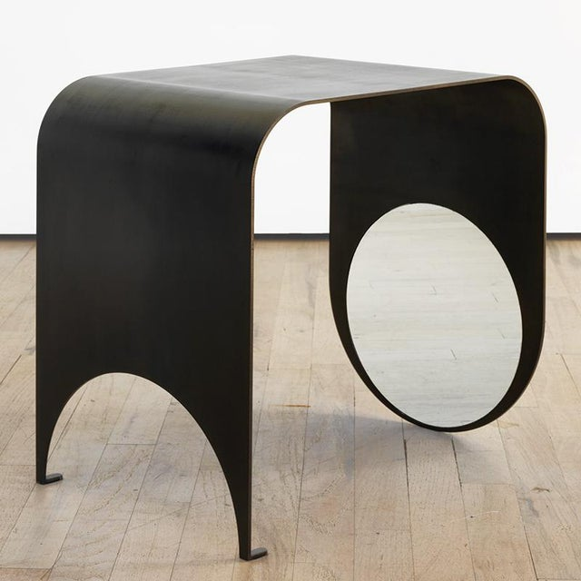 Contemporary Contemporary Blackened Steel and Polished Steel Thin Table 1 For Sale - Image 3 of 6