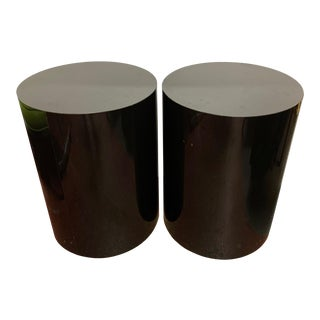 1980s Round Black Pedestals/Tables - Set of 2 For Sale