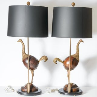 Hollywood Regency Rare Bronze & Wood Ostrich Table Lamps, A-Pair Preview