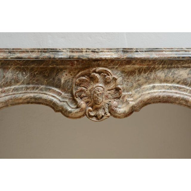 Tan Beautiful Petite Marble Régence Style Fireplace Mantel For Sale - Image 8 of 10