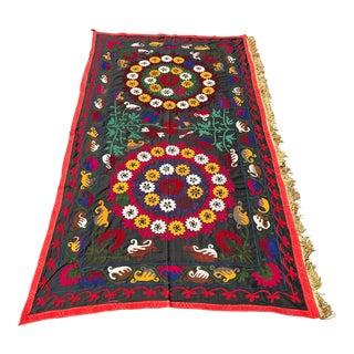 Handmade Black Suzani Yellow Tassel Bedspread For Sale