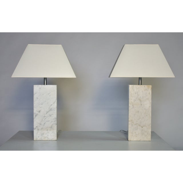 Pair of Mid-Century marble lamps by Nessen newly rewired with new sockets and shades.
