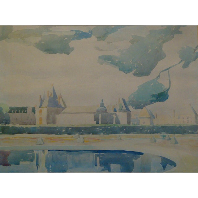 Midcentury abstracted watercolor painting of a French castle done in soft shades of blue, green, gray, purple, and tan. A...