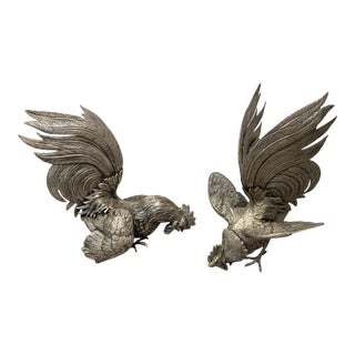 Vintage Mid 20th Century Silver Plate Fighting Roosters - Set of 2 For Sale