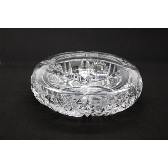 1960s Hollywood Regency Thick Cut Crystal Ashtray For Sale - Image 4 of 8