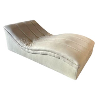 1980s Vintage Tan Linen Chaise For Sale