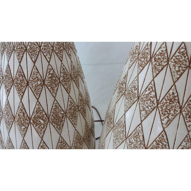 Mid-Century Textured Diamond Pattern Plaster and Teak Lamps - a Pair For Sale In New York - Image 6 of 9