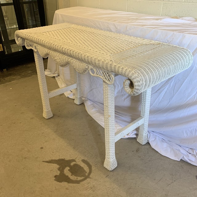 Hollywood Regency Asian Style White Wicker Console Table For Sale - Image 3 of 11