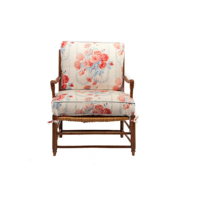 "18th-century Country French rush seat Bergere and Ottoman. *****OVERALL: 32""wide x 72"" deep x 36"" high"