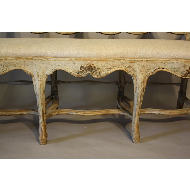 Gray 19th C Portuguese Carved Wood Bench For Sale - Image 8 of 11