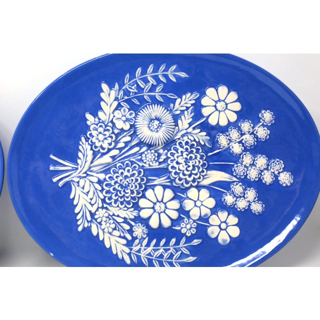 Vintage Blue and White Embossed Flowers Plates - Set of 2 For Sale In Tampa - Image 6 of 10