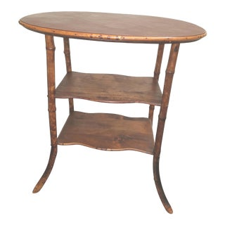 Victorian Oval Bamboo Table With Brown Leather Top For Sale