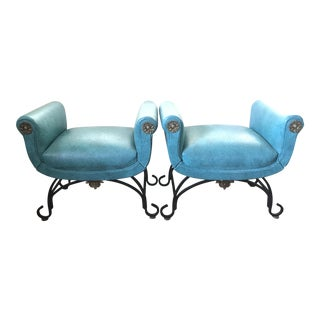 Hollywood Regency Upholstered Benches - a Pair