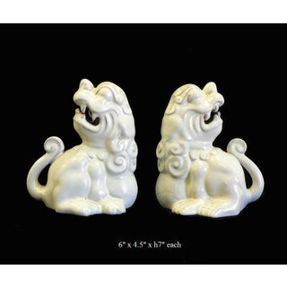 Pair Handmade Chinese Feng Shui Ceramic Off White Foo Dog Figures Preview