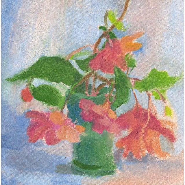 """""""Begonias in a Blue Green Vase"""", by Amy Griffith Colley. This is a print (giclee) of the original painting, made to order..."""