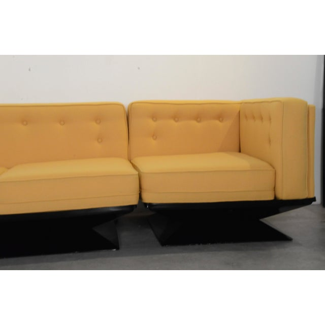 Upholstered in a New Yellow Knoll Wool MIM Roma (Ico Parisi) Sectional Sofa by Luigi Pellegrin - Image 4 of 10
