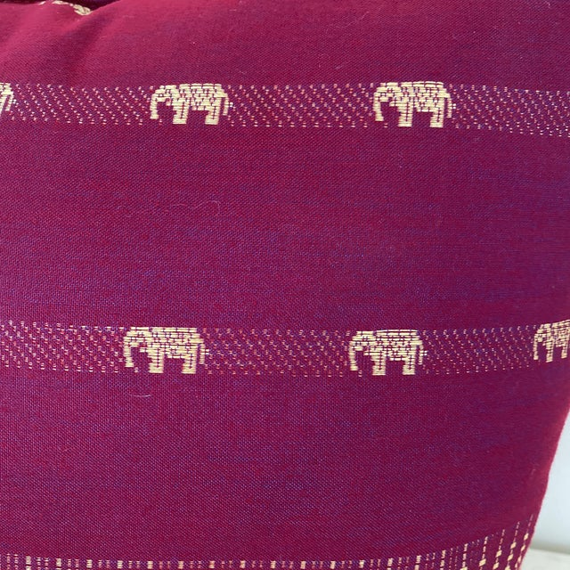 Magenta Thai Silk Pillow With Elephant Motifs For Sale - Image 11 of 12