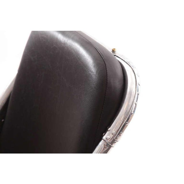 1940s 1940s Mid-Century Modern Riveted Aluminum and Leather Cessna Chairs - a Pair For Sale - Image 5 of 9