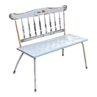 Mid Century Distressed Porch Bench For Sale