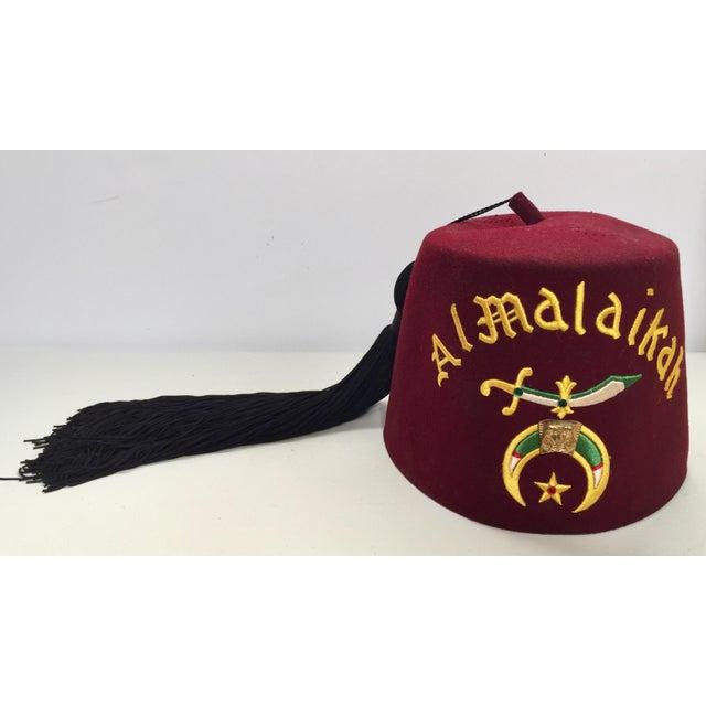 b7b934a2a Vintage Al Malaikah Masonic Shriner Burgundy Wool Fez Hat
