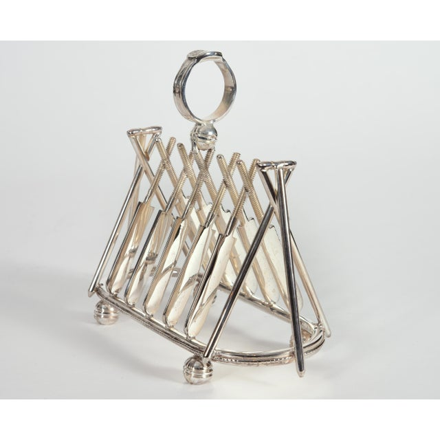 Silver Vintage English Silver Plate Cricket Sport Design Toast Rack For Sale - Image 8 of 10