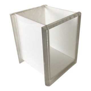 Vintage George Bullio Style Lucite Acrylic Waste Basket in White For Sale
