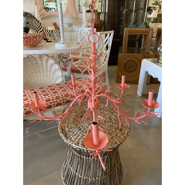 Vintage Palm Beach Metal Coral 5-Light Chandelier For Sale - Image 4 of 12
