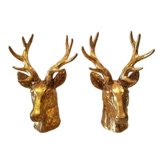 Pair of Gold Ceramic Deer Heads For Sale