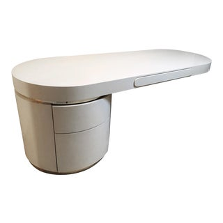 "Streamlined ""Ponte"" Single Pedestal Lacquered Desk Designed by J. Wade Beam For Sale"