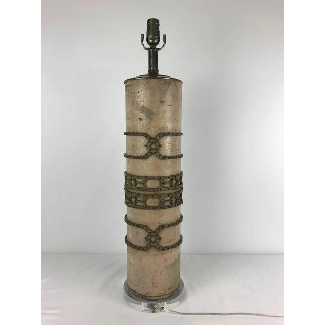 Metal Wallpaper Roller Table Lamp For Sale - Image 7 of 9