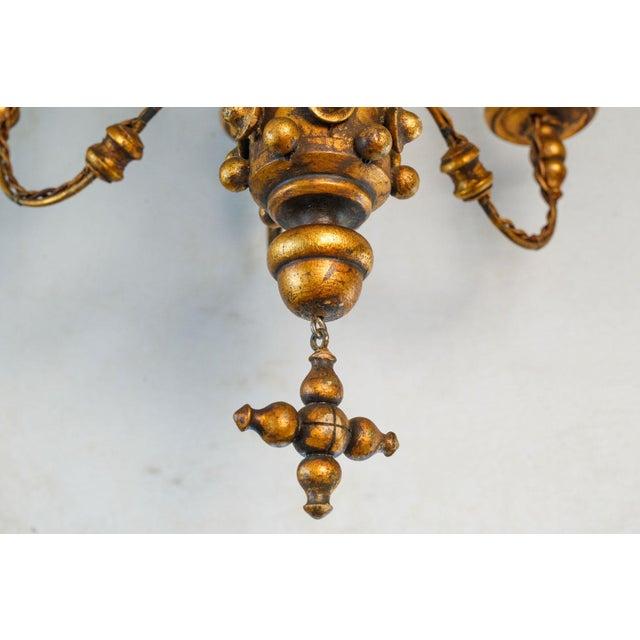 Giltwood Stunning Giltwood Italian Chandelier For Sale - Image 7 of 11