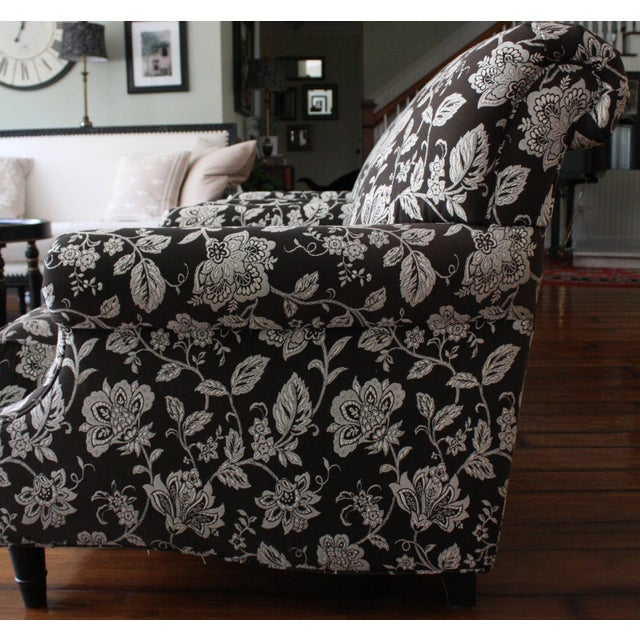 "Early 20th Century Bassett "" Dawson"" Chairs in Cream & Black Floral Print ~ One Pair For Sale - Image 5 of 7"