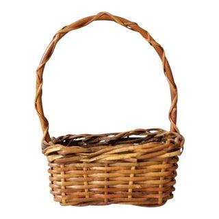 Vintage Small Gathering Basket For Sale